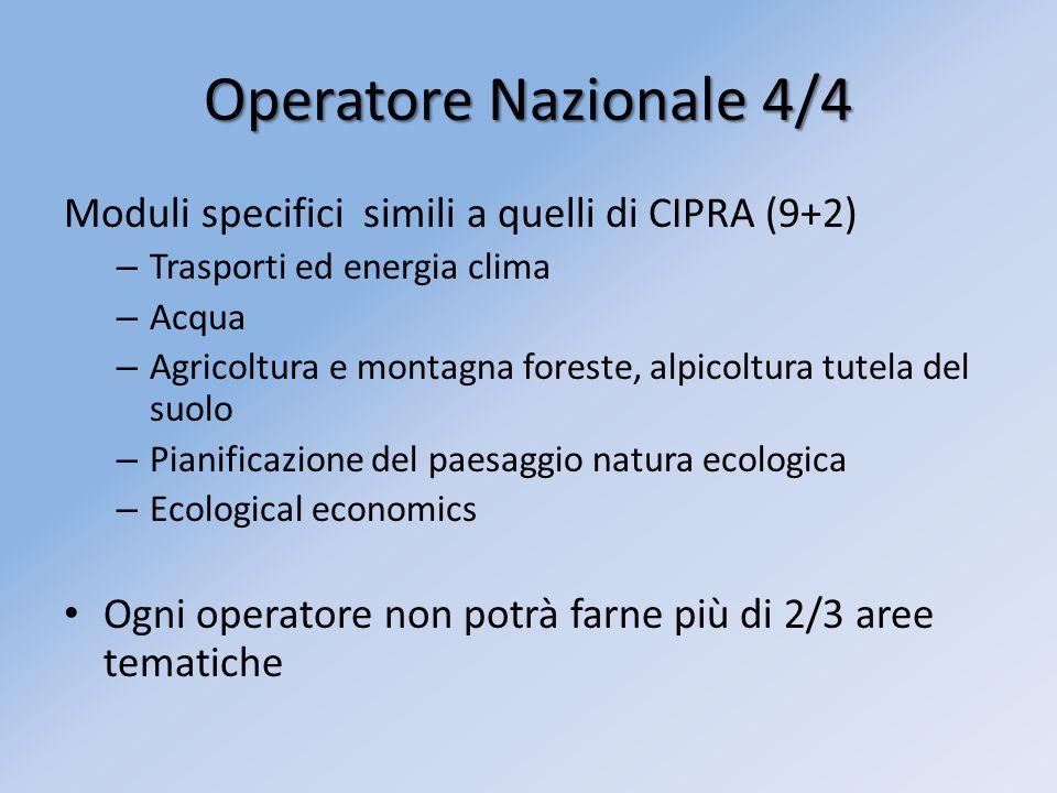 Operatore Nazionale 4/4 Moduli specifici simili a quelli di CIPRA (9+2) – Trasporti ed energia clima – Acqua – Agricoltura e montagna foreste, alpicol