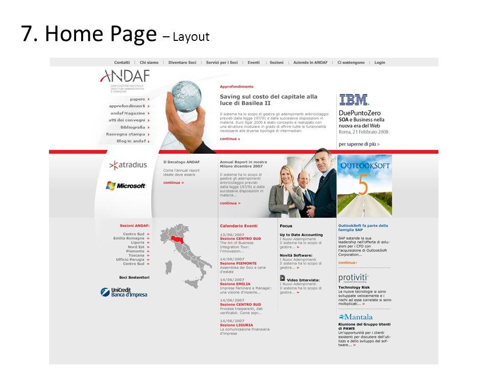 Leader Brand Main Up Sostenitori 8.Home Page – Spazi pubblicitari (vedi listino in ultima pagina) Main Center Home Bullet