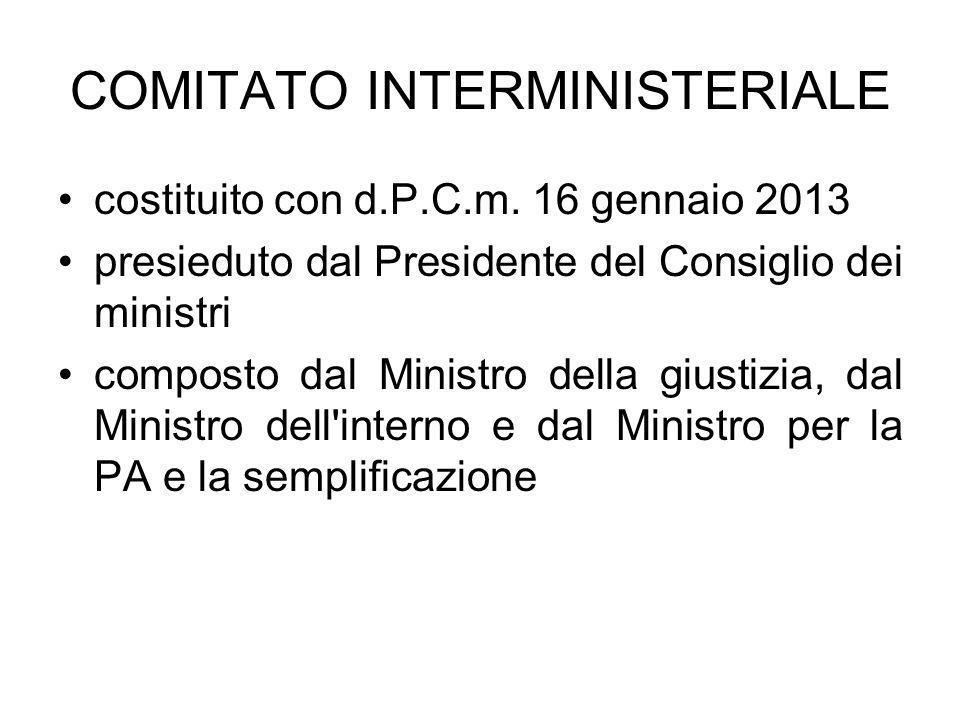 COMITATO INTERMINISTERIALE costituito con d.P.C.m. 16 gennaio 2013 presieduto dal Presidente del Consiglio dei ministri composto dal Ministro della gi