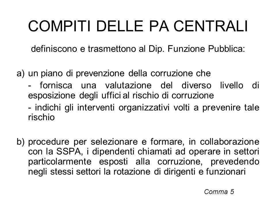COMPITI DELLE PA CENTRALI definiscono e trasmettono al Dip. Funzione Pubblica: a)un piano di prevenzione della corruzione che - fornisca una valutazio