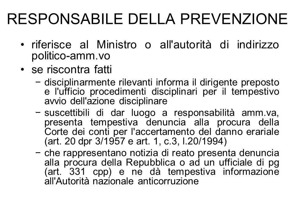 RESPONSABILE DELLA PREVENZIONE riferisce al Ministro o all'autorità di indirizzo politico-amm.vo se riscontra fatti disciplinarmente rilevanti informa