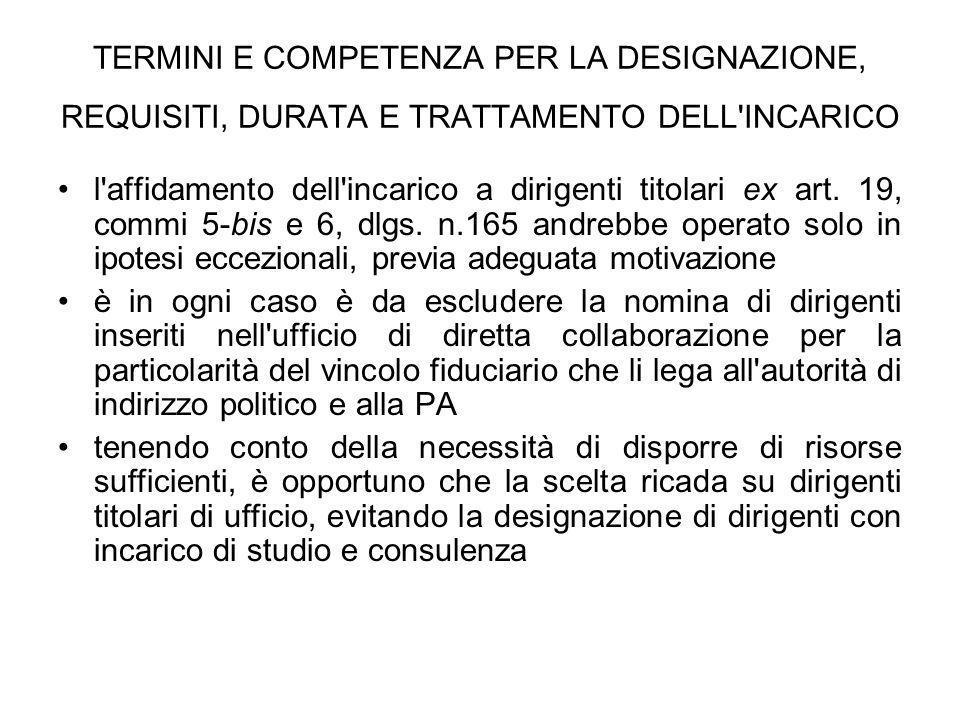 TERMINI E COMPETENZA PER LA DESIGNAZIONE, REQUISITI, DURATA E TRATTAMENTO DELL'INCARICO l'affidamento dell'incarico a dirigenti titolari ex art. 19, c
