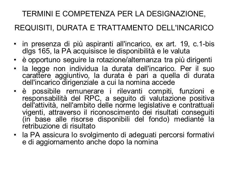 TERMINI E COMPETENZA PER LA DESIGNAZIONE, REQUISITI, DURATA E TRATTAMENTO DELL'INCARICO in presenza di più aspiranti all'incarico, ex art. 19, c.1-bis
