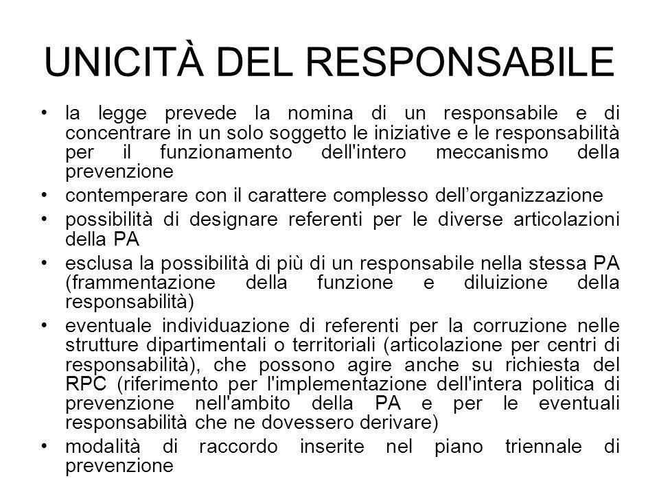 UNICITÀ DEL RESPONSABILE la legge prevede la nomina di un responsabile e di concentrare in un solo soggetto le iniziative e le responsabilità per il f