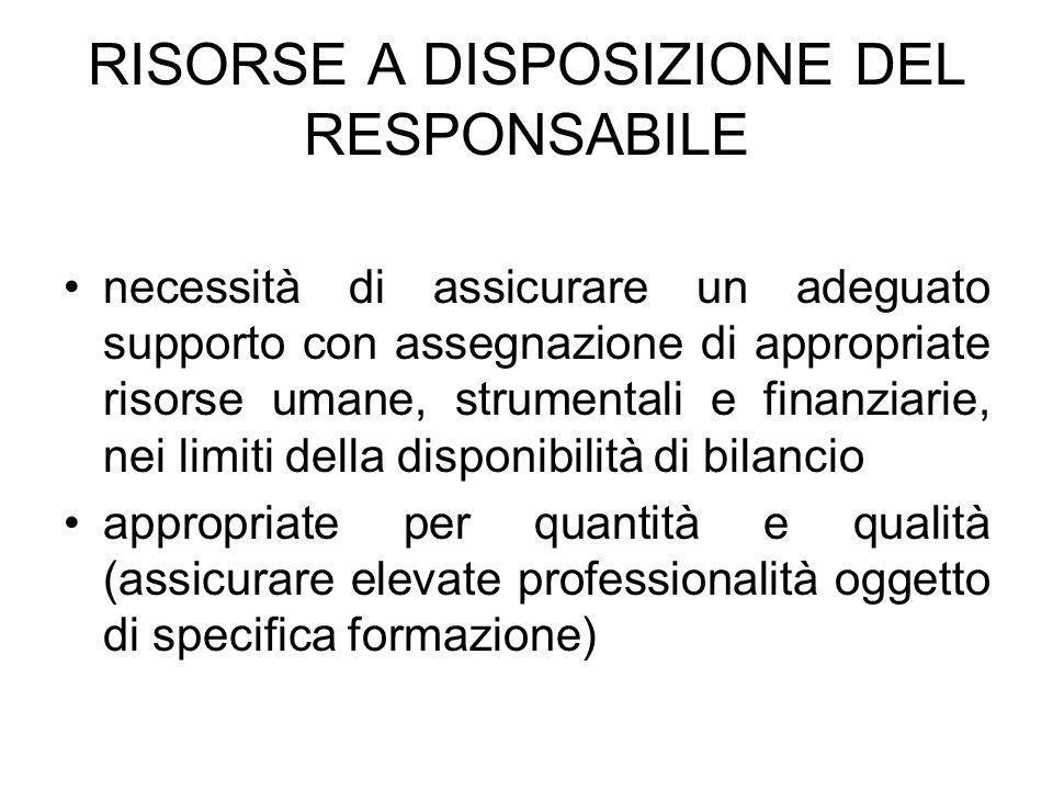 RISORSE A DISPOSIZIONE DEL RESPONSABILE necessità di assicurare un adeguato supporto con assegnazione di appropriate risorse umane, strumentali e fina
