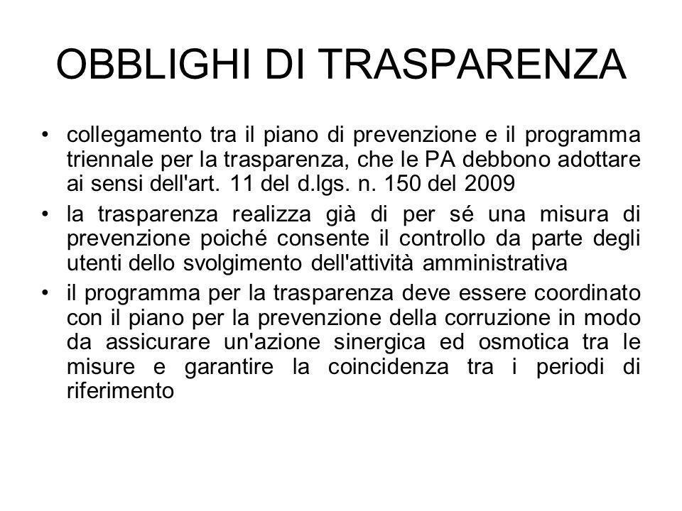 OBBLIGHI DI TRASPARENZA collegamento tra il piano di prevenzione e il programma triennale per la trasparenza, che le PA debbono adottare ai sensi dell