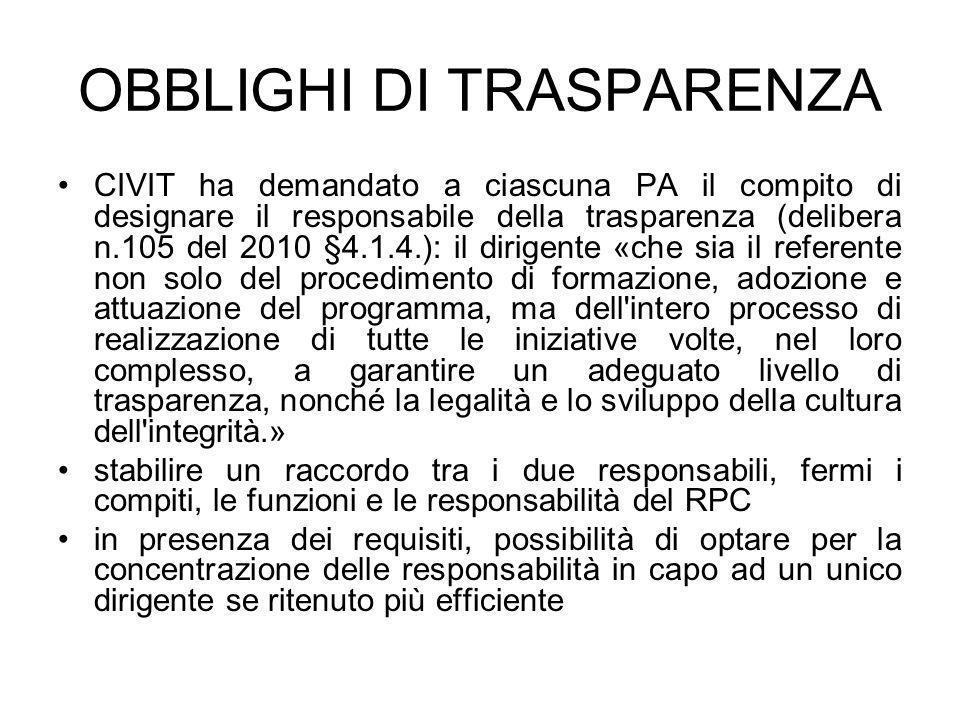 OBBLIGHI DI TRASPARENZA CIVIT ha demandato a ciascuna PA il compito di designare il responsabile della trasparenza (delibera n.105 del 2010 §4.1.4.):