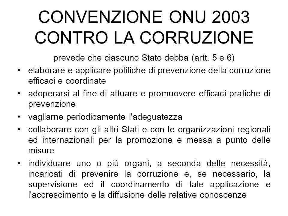 CONVENZIONE ONU 2003 CONTRO LA CORRUZIONE prevede che ciascuno Stato debba (artt. 5 e 6) elaborare e applicare politiche di prevenzione della corruzio