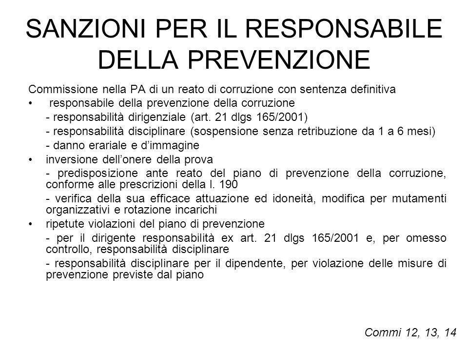 SANZIONI PER IL RESPONSABILE DELLA PREVENZIONE Commissione nella PA di un reato di corruzione con sentenza definitiva responsabile della prevenzione d