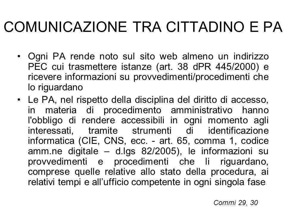 COMUNICAZIONE TRA CITTADINO E PA Ogni PA rende noto sul sito web almeno un indirizzo PEC cui trasmettere istanze (art. 38 dPR 445/2000) e ricevere inf