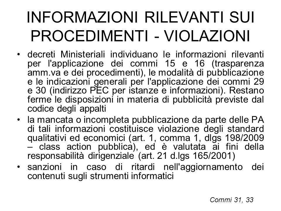 INFORMAZIONI RILEVANTI SUI PROCEDIMENTI - VIOLAZIONI decreti Ministeriali individuano le informazioni rilevanti per l'applicazione dei commi 15 e 16 (