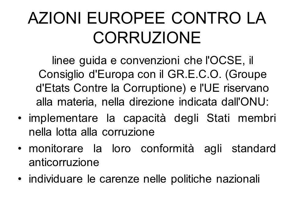 AZIONI EUROPEE CONTRO LA CORRUZIONE linee guida e convenzioni che l'OCSE, il Consiglio d'Europa con il GR.E.C.O. (Groupe d'Etats Contre la Corruptione