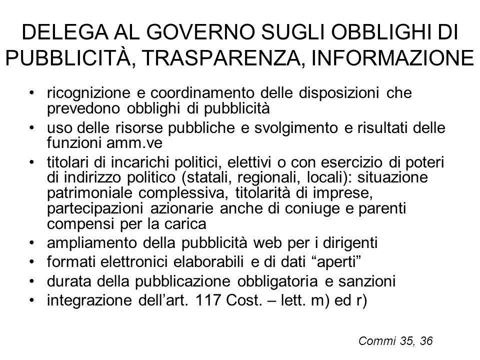 DELEGA AL GOVERNO SUGLI OBBLIGHI DI PUBBLICITÀ, TRASPARENZA, INFORMAZIONE ricognizione e coordinamento delle disposizioni che prevedono obblighi di pu