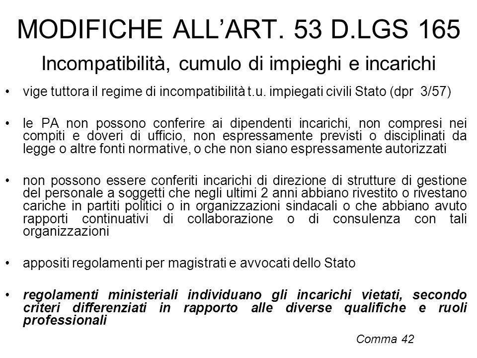MODIFICHE ALLART. 53 D.LGS 165 Incompatibilità, cumulo di impieghi e incarichi vige tuttora il regime di incompatibilità t.u. impiegati civili Stato (