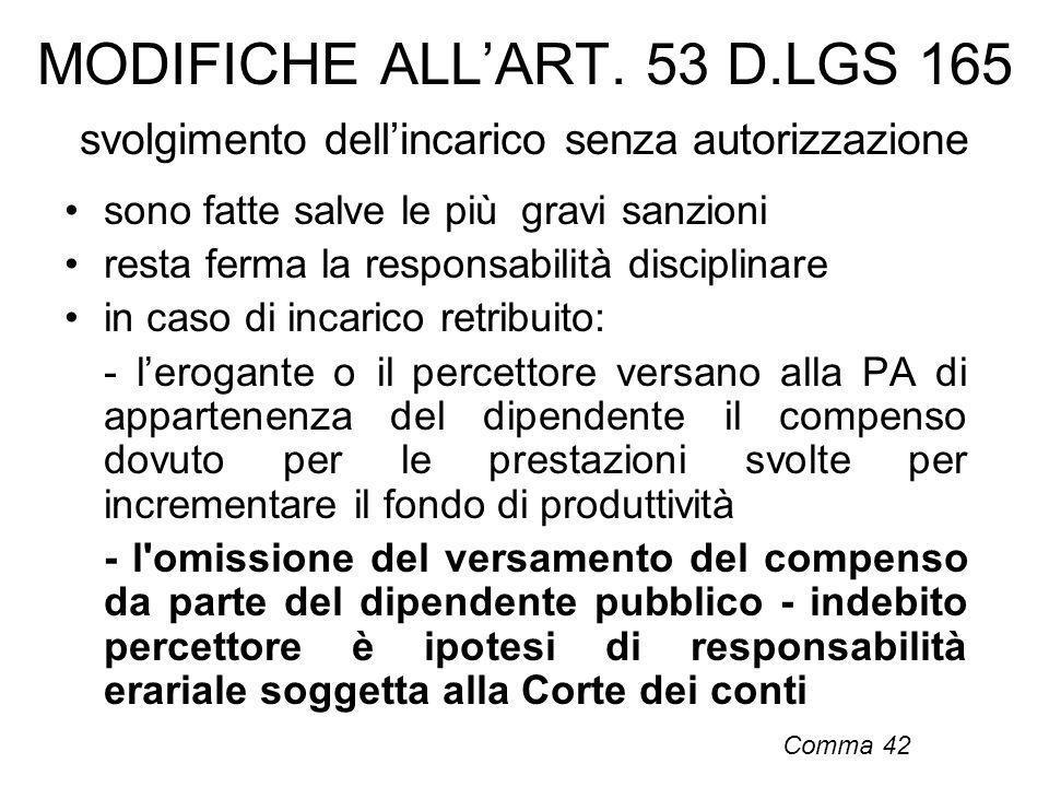 MODIFICHE ALLART. 53 D.LGS 165 svolgimento dellincarico senza autorizzazione sono fatte salve le più gravi sanzioni resta ferma la responsabilità disc