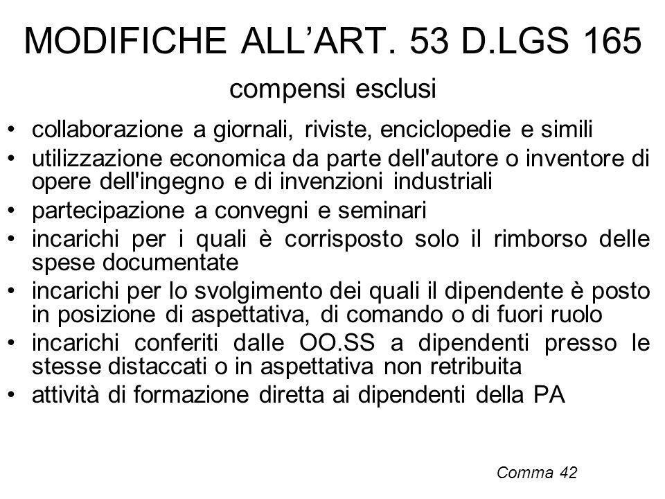 MODIFICHE ALLART. 53 D.LGS 165 compensi esclusi collaborazione a giornali, riviste, enciclopedie e simili utilizzazione economica da parte dell'autore