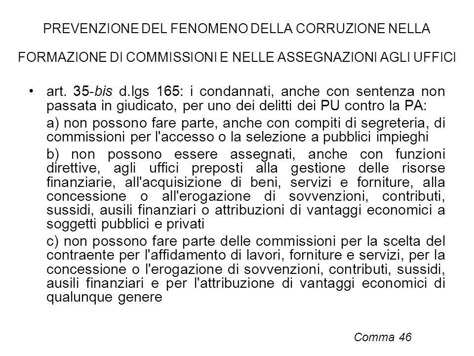 PREVENZIONE DEL FENOMENO DELLA CORRUZIONE NELLA FORMAZIONE DI COMMISSIONI E NELLE ASSEGNAZIONI AGLI UFFICI art. 35-bis d.lgs 165: i condannati, anche