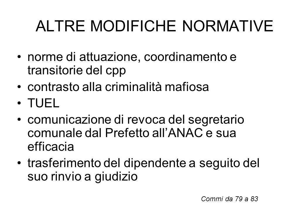 ALTRE MODIFICHE NORMATIVE norme di attuazione, coordinamento e transitorie del cpp contrasto alla criminalità mafiosa TUEL comunicazione di revoca del