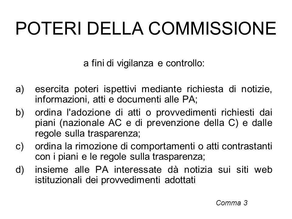 POTERI DELLA COMMISSIONE a fini di vigilanza e controllo: a)esercita poteri ispettivi mediante richiesta di notizie, informazioni, atti e documenti al