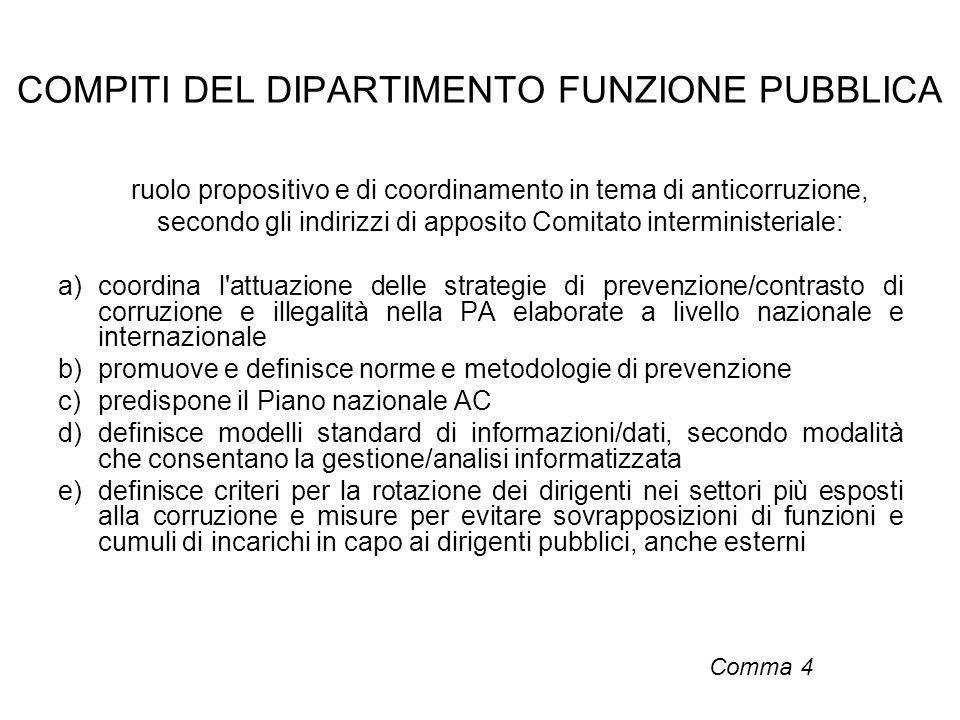 COMPITI DEL DIPARTIMENTO FUNZIONE PUBBLICA ruolo propositivo e di coordinamento in tema di anticorruzione, secondo gli indirizzi di apposito Comitato