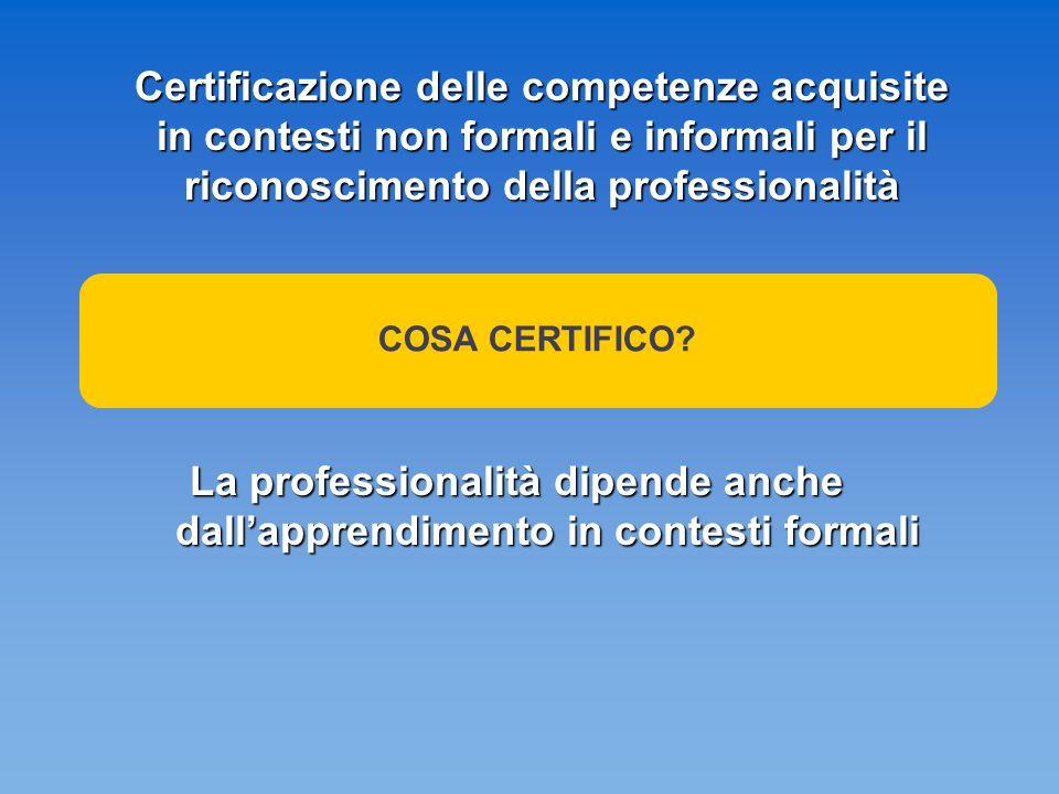 Certificazione delle competenze acquisite in contesti non formali e informali per il riconoscimento della professionalità La professionalità dipende anche dallapprendimento in contesti formali COSA CERTIFICO?