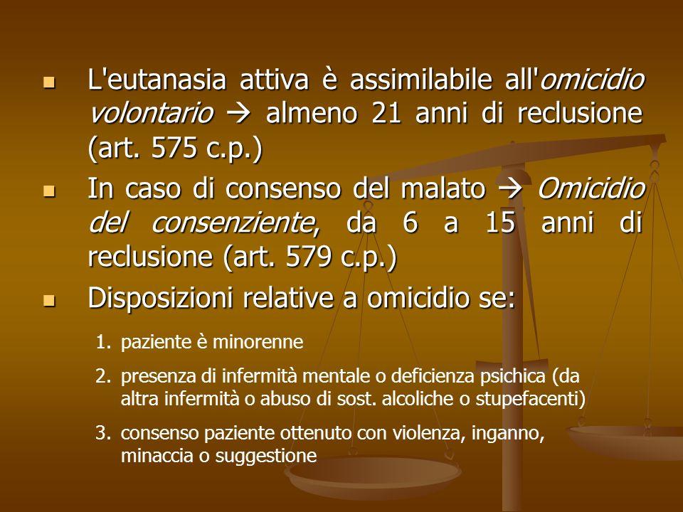 L'eutanasia attiva è assimilabile all'omicidio volontario almeno 21 anni di reclusione (art. 575 c.p.) L'eutanasia attiva è assimilabile all'omicidio