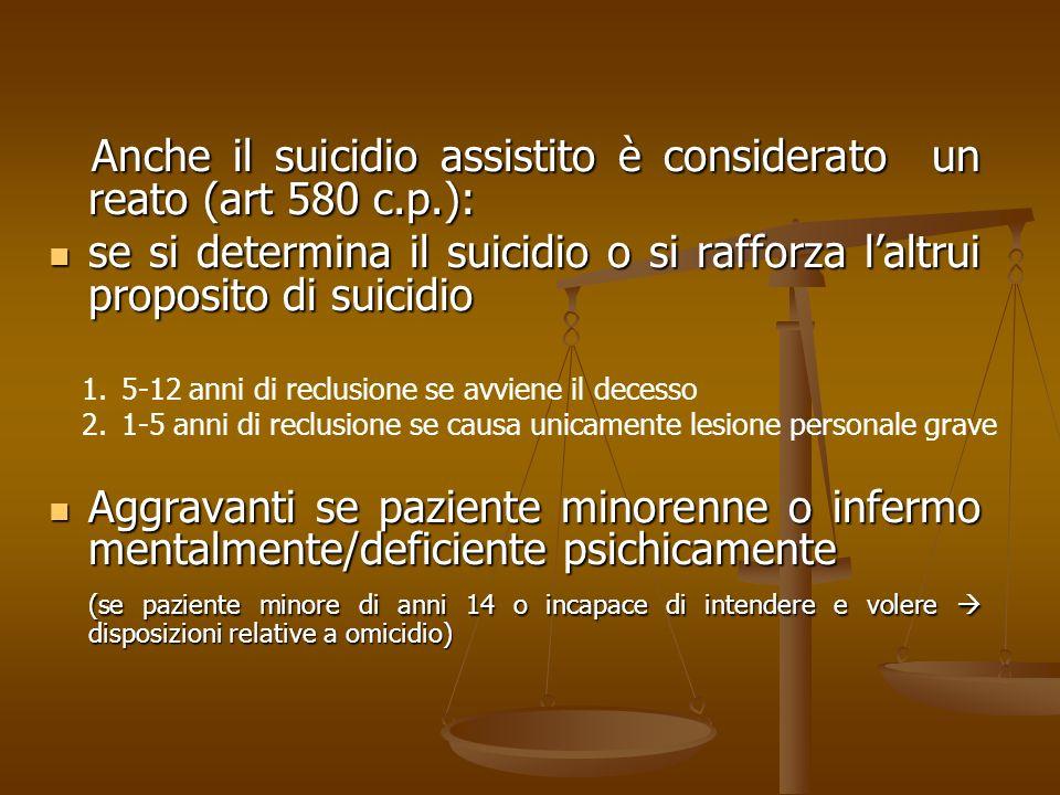 Anche il suicidio assistito è considerato un reato (art 580 c.p.): Anche il suicidio assistito è considerato un reato (art 580 c.p.): se si determina