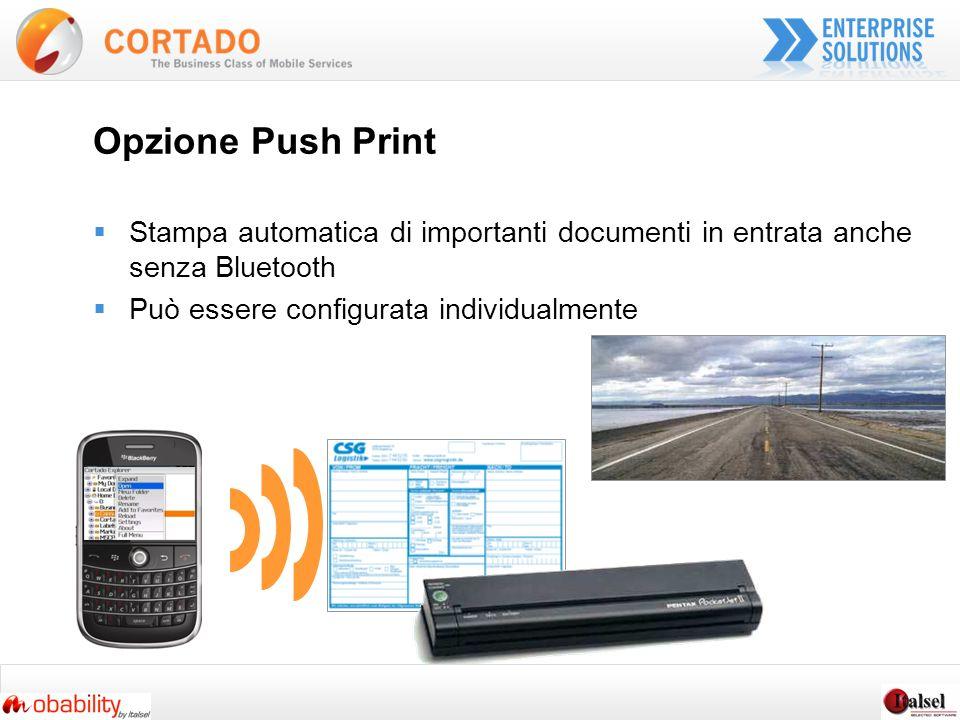 Opzione Push Print Stampa automatica di importanti documenti in entrata anche senza Bluetooth Può essere configurata individualmente