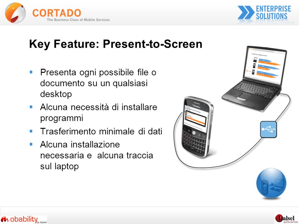 Key Feature: Present-to-Screen Presenta ogni possibile file o documento su un qualsiasi desktop Alcuna necessità di installare programmi Trasferimento