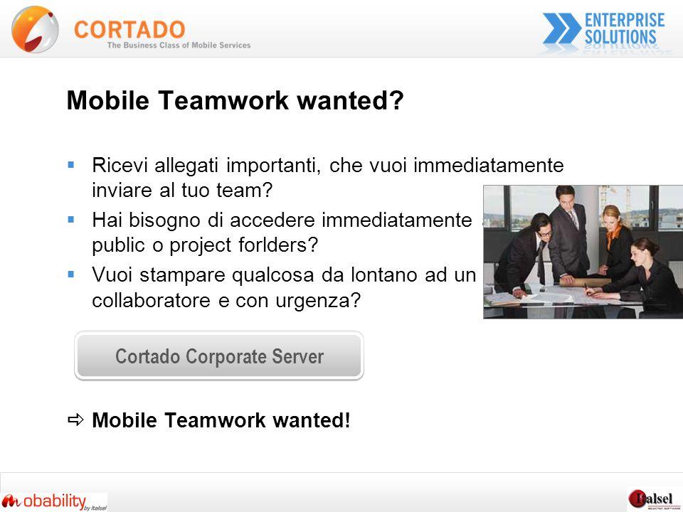 Mobile Teamwork wanted.Ricevi allegati importanti, che vuoi immediatamente inviare al tuo team.