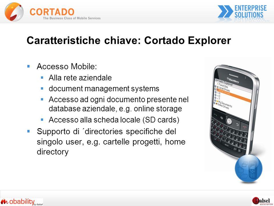 Caratteristiche chiave: Cortado Explorer Accesso Mobile: Alla rete aziendale document management systems Accesso ad ogni documento presente nel database aziendale, e.g.