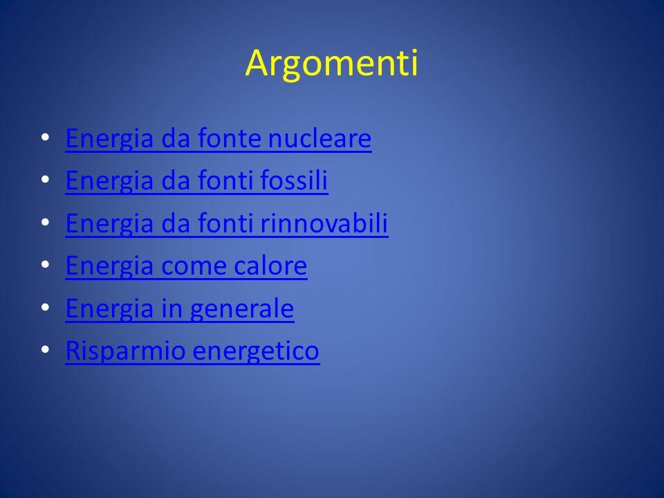 Argomenti Energia da fonte nucleare Energia da fonti fossili Energia da fonti rinnovabili Energia come calore Energia in generale Risparmio energetico