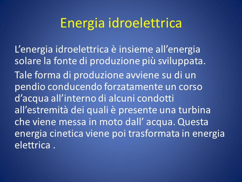 Energia idroelettrica Lenergia idroelettrica è insieme allenergia solare la fonte di produzione più sviluppata. Tale forma di produzione avviene su di
