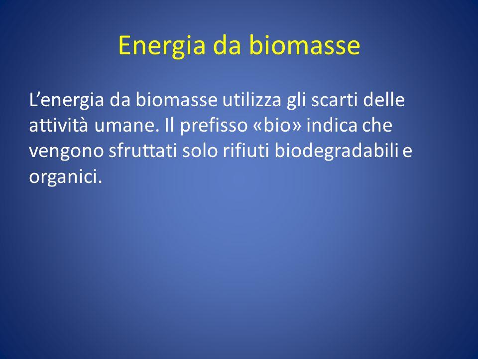 Energia da biomasse Lenergia da biomasse utilizza gli scarti delle attività umane. Il prefisso «bio» indica che vengono sfruttati solo rifiuti biodegr