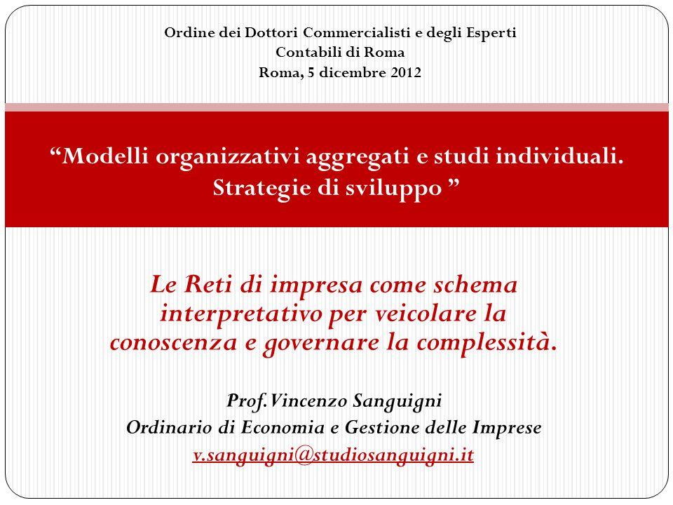 Le Reti di impresa come schema interpretativo per veicolare la conoscenza e governare la complessità. Prof.Vincenzo Sanguigni Ordinario di Economia e