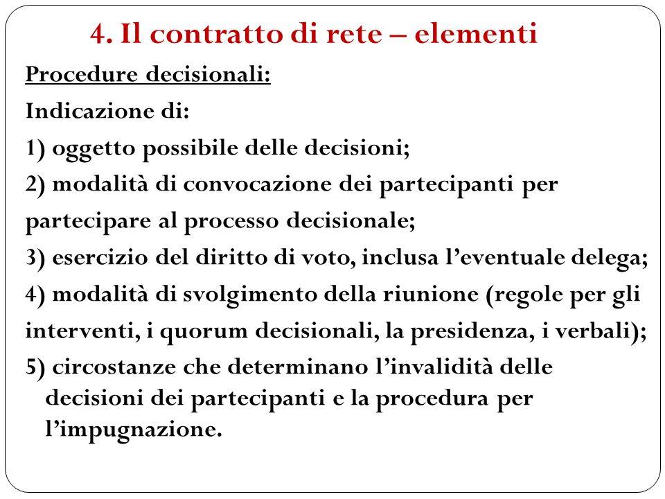 Procedure decisionali: Indicazione di: 1) oggetto possibile delle decisioni; 2) modalità di convocazione dei partecipanti per partecipare al processo