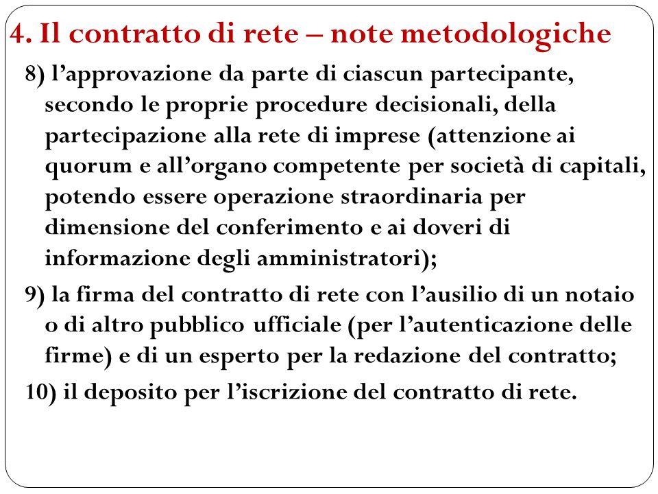 8) lapprovazione da parte di ciascun partecipante, secondo le proprie procedure decisionali, della partecipazione alla rete di imprese (attenzione ai