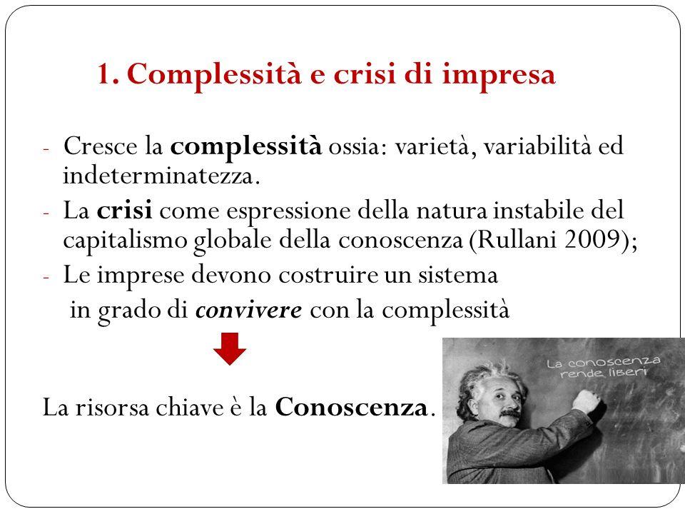 - Cresce la complessità ossia: varietà, variabilità ed indeterminatezza. - La crisi come espressione della natura instabile del capitalismo globale de