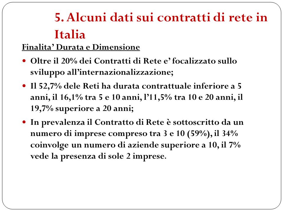 5. Alcuni dati sui contratti di rete in Italia Finalita Durata e Dimensione Oltre il 20% dei Contratti di Rete e focalizzato sullo sviluppo allinterna
