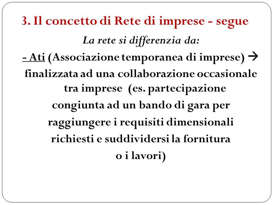 La rete si differenzia da: - Ati (Associazione temporanea di imprese) finalizzata ad una collaborazione occasionale tra imprese (es. partecipazione co