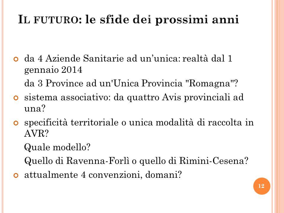 da 4 Aziende Sanitarie ad ununica: realtà dal 1 gennaio 2014 da 3 Province ad un Unica Provincia Romagna .