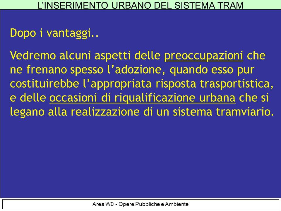 LINSERIMENTO URBANO DEL SISTEMA TRAM Area W0 - Opere Pubbliche e Ambiente Preoccupazioni Dopo i vantaggi..