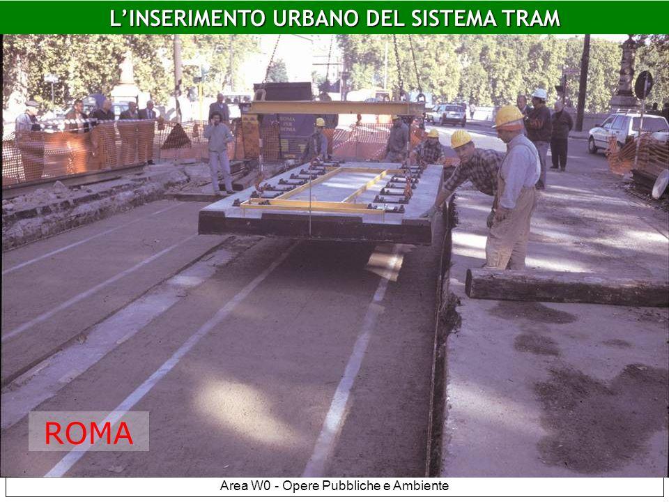 LINSERIMENTO URBANO DEL SISTEMA TRAM Area W0 - Opere Pubbliche e Ambiente Platee flottanti Roma ANCHE SU GOMMA.