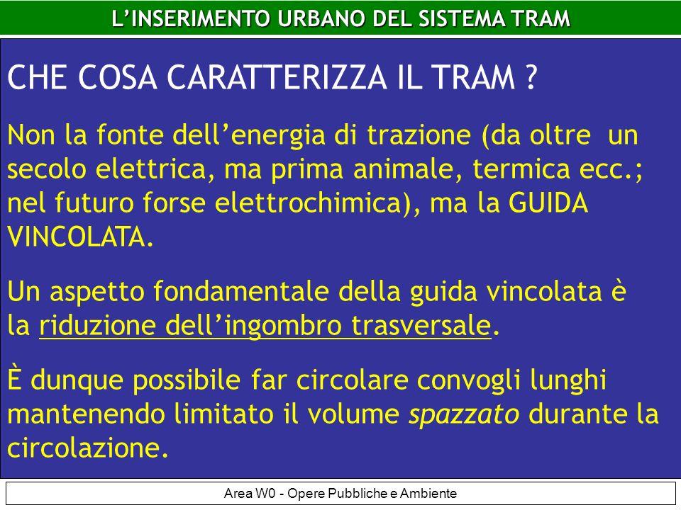 LINSERIMENTO URBANO DEL SISTEMA TRAM Area W0 - Opere Pubbliche e Ambiente LINSERIMENTO URBANO DEL SISTEMA TRAM CHE COSA CARATTERIZZA IL TRAM .