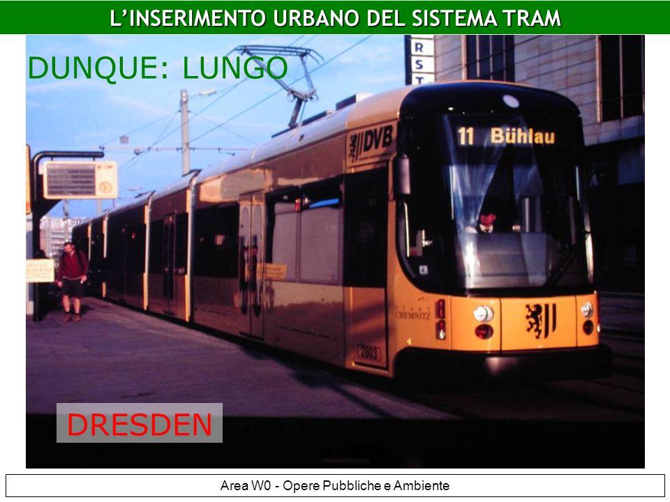 LINSERIMENTO URBANO DEL SISTEMA TRAM Area W0 - Opere Pubbliche e Ambiente LINSERIMENTO URBANO DEL SISTEMA TRAM DUNQUE: LUNGO DRESDEN