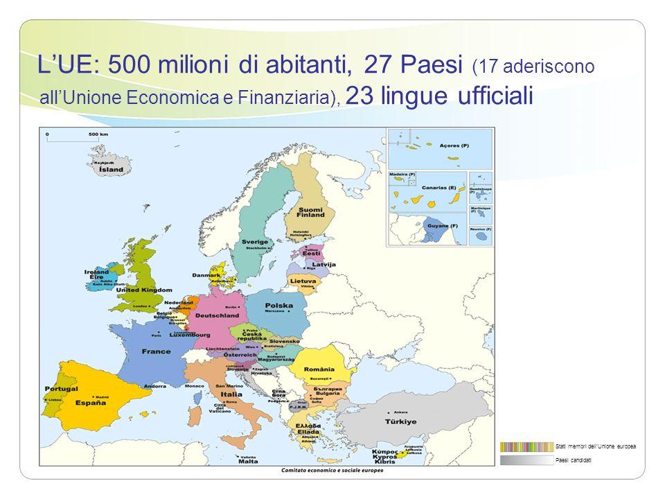LUE: 500 milioni di abitanti, 27 Paesi (17 aderiscono allUnione Economica e Finanziaria), 23 lingue ufficiali Stati membri dellUnione europea Paesi ca