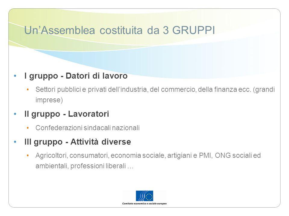 UnAssemblea costituita da 3 GRUPPI I gruppo - Datori di lavoro Settori pubblici e privati dellindustria, del commercio, della finanza ecc. (grandi imp