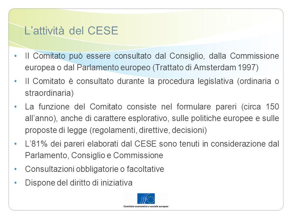 Lattività del CESE Il Comitato può essere consultato dal Consiglio, dalla Commissione europea o dal Parlamento europeo (Trattato di Amsterdam 1997) Il