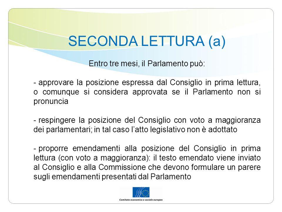 SECONDA LETTURA (a) Entro tre mesi, il Parlamento può: - approvare la posizione espressa dal Consiglio in prima lettura, o comunque si considera appro
