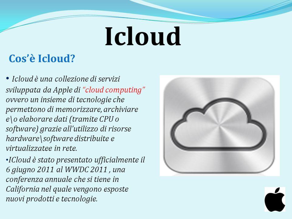 Icloud Icloud è una collezione di servizi sviluppata da Apple di cloud computing ovvero un insieme di tecnologie che permettono di memorizzare, archiv